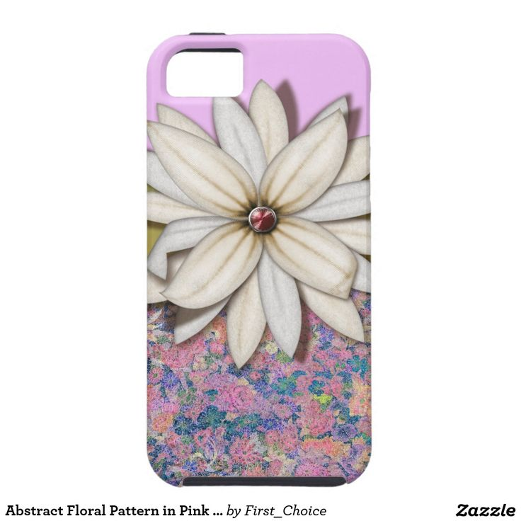 Abstract Floral Pattern in Pink and Blue iPhone 5 Covers