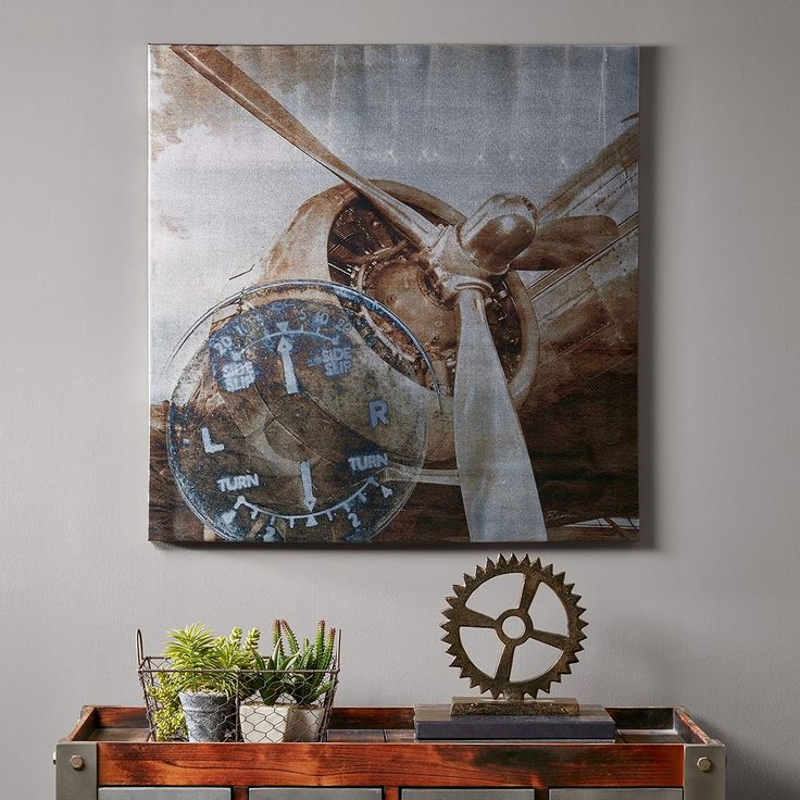 Ink+ivy Metallic Ink History of Aviation II Canvas Wall Art, Brown