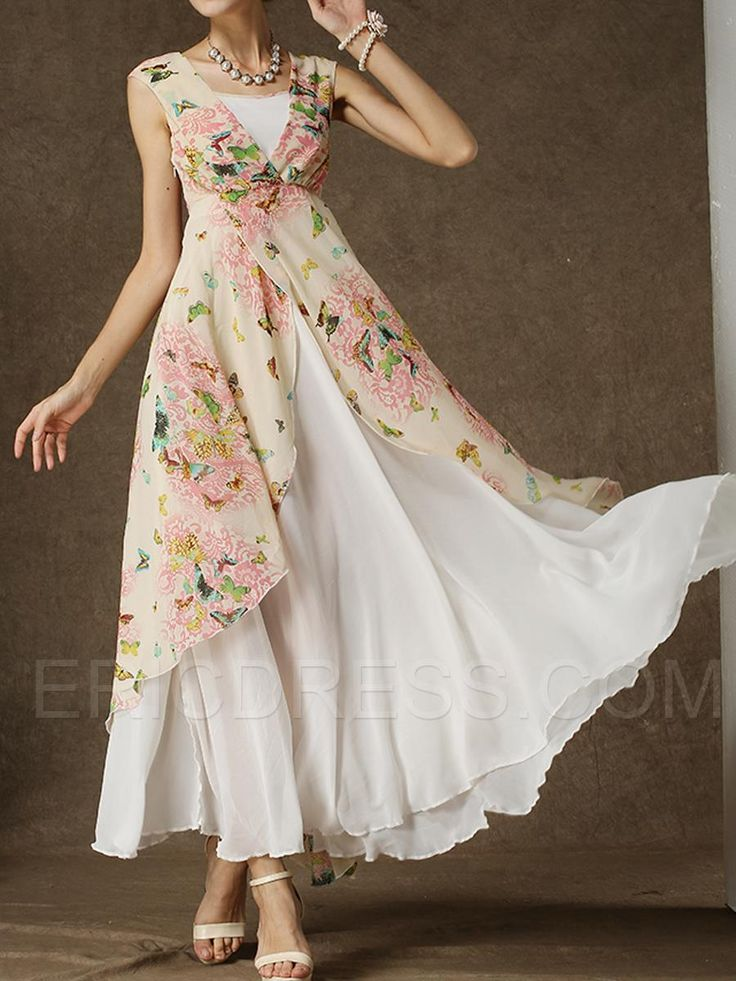 Ericdress White Floral Print Double-Layer Sleeveless Dress Maximum Style