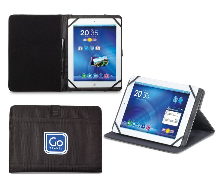 The Logic Tablet Swivel Stand features adjustable corners and rotates for landscape or vertical viewing!