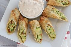 Avocado Egg Rolls with Chipotle Ranch Dipping Sauce | www.tasteandtellblog.com #recipe #avocado #appetizer