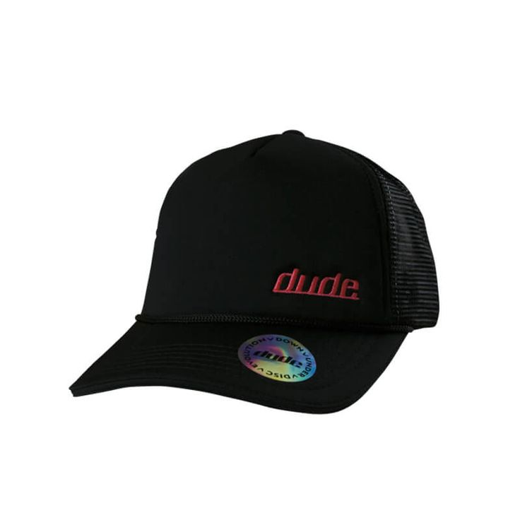 Disc Golf Apparel - Simon Trucker Cap  The Simon Trucker Cap comes in black with either curved or flat brim and has a toweling sweat band built in. Wear one of these and maybe you could play like Simon too. For more details, visit https://www.dudeclothing.com/collections/accessories/products/simon-trucker-cap?variant=17863851013