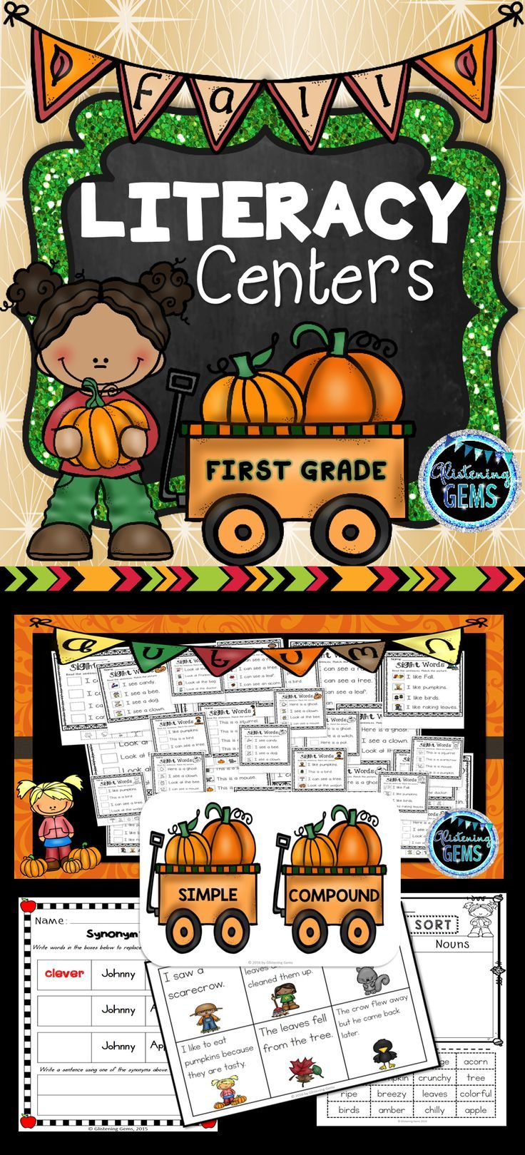 First Grade Literacy Centers - Fall Theme