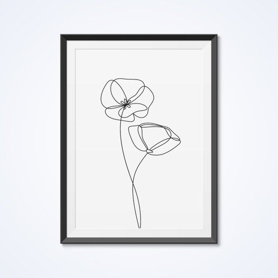 Poppies wall decor print Minimalist line art Single line drawing Modern art Blac… – Gudi