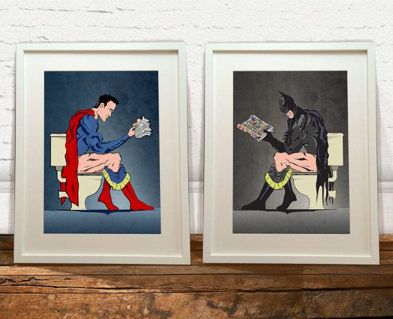 Hey, I found this really awesome Etsy listing at https://www.etsy.com/listing/210133428/batman-and-superhero-on-the-toilet-art