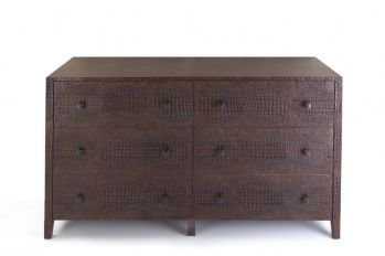 Chest of 6 drawers, faux crocodile skin. Brown color.
