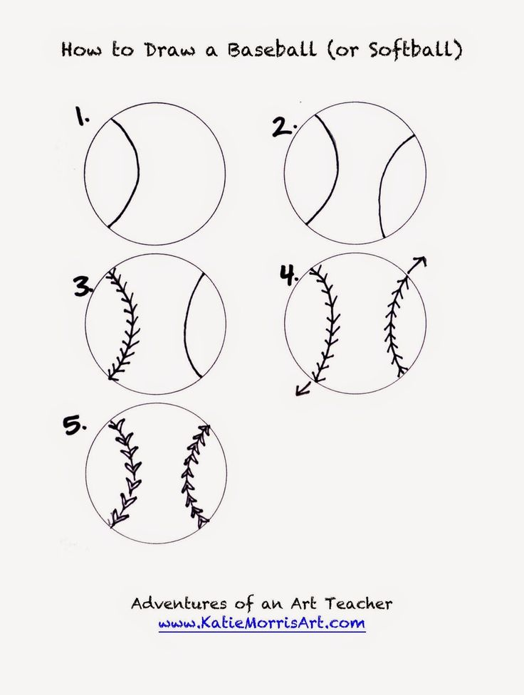 """A few years ago when my 5th graders created """"sports spheres"""" for a lesson, I made up some """"how to draw"""" handouts for a baseball/softball, basketball, volleyball, and tennis ball. They are now in my dr"""