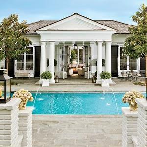 pools - Robe Lowe's pool, columns, greek columns,  Rob Lowe's Pool!  gorgeous pool, columns, french doors and black lanterns.