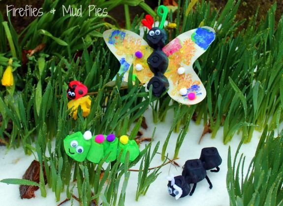 Egg carton insect craft.  Study roles of insects in the yard/garden, make these & use bay window are to demonstrate roles.