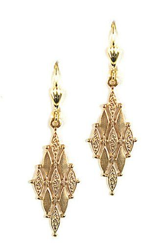 Clara Beau 14k Gold Plated Art Deco Diamond Design Marquise Dangle Earrings Clara Beau, JEWELRY AND GEMS if you wish to buy just CLICK on AMAZON right HERE http://www.amazon.com/dp/B00C27N7VI/ref=cm_sw_r_pi_dp_2jg2sb09BTCFSBT6
