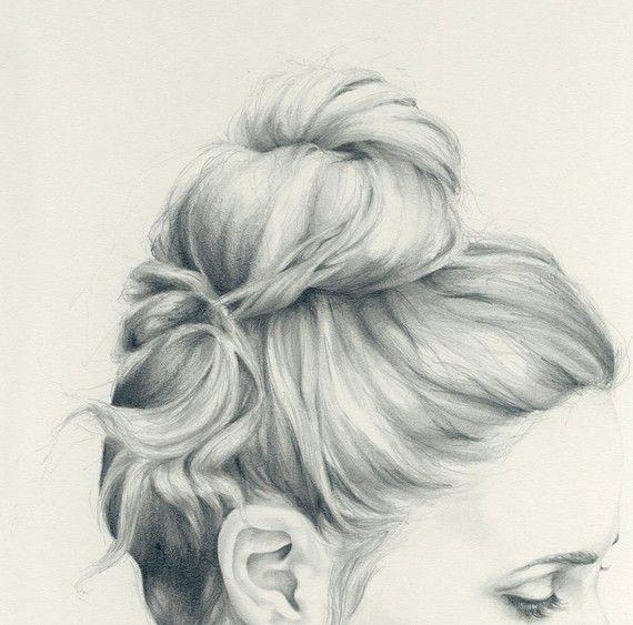 bun: Sketch, Drawings, Messy Bun, Hair Bun, Hairs, Illustration, Art, Pencil Drawing, Emma Leonard