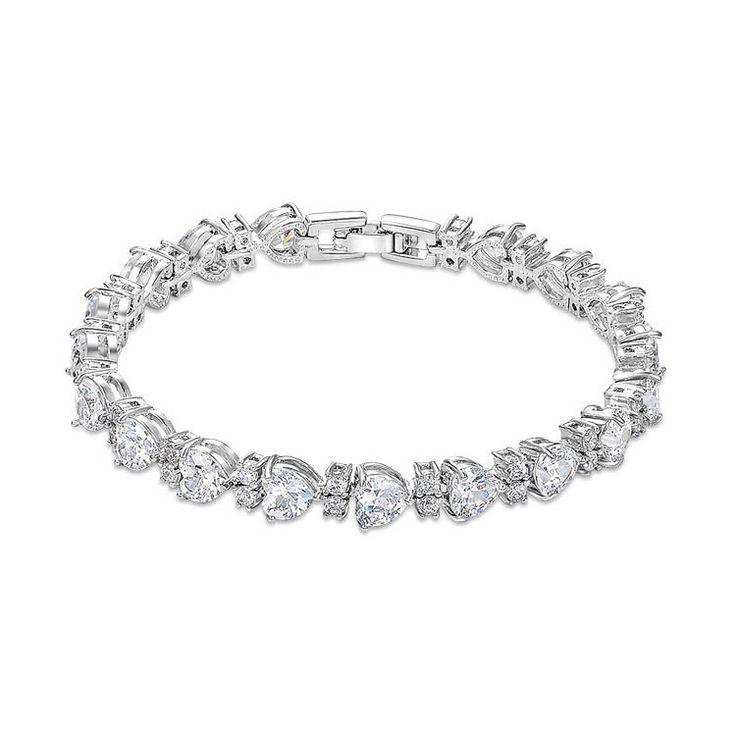 Молодой девушки браслет с AAA циркон в форме сердца браслет бриллиантовый браслет медный браслет для свадьбы