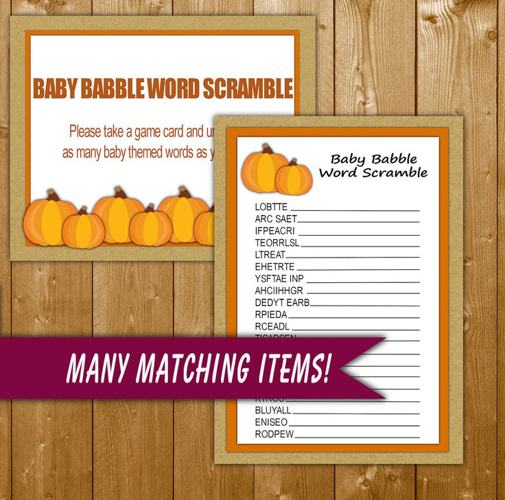 Pumpkin Baby Shower Games, Word Scramble Printable, Little Pumpkin Shower Games Instant Download Printable