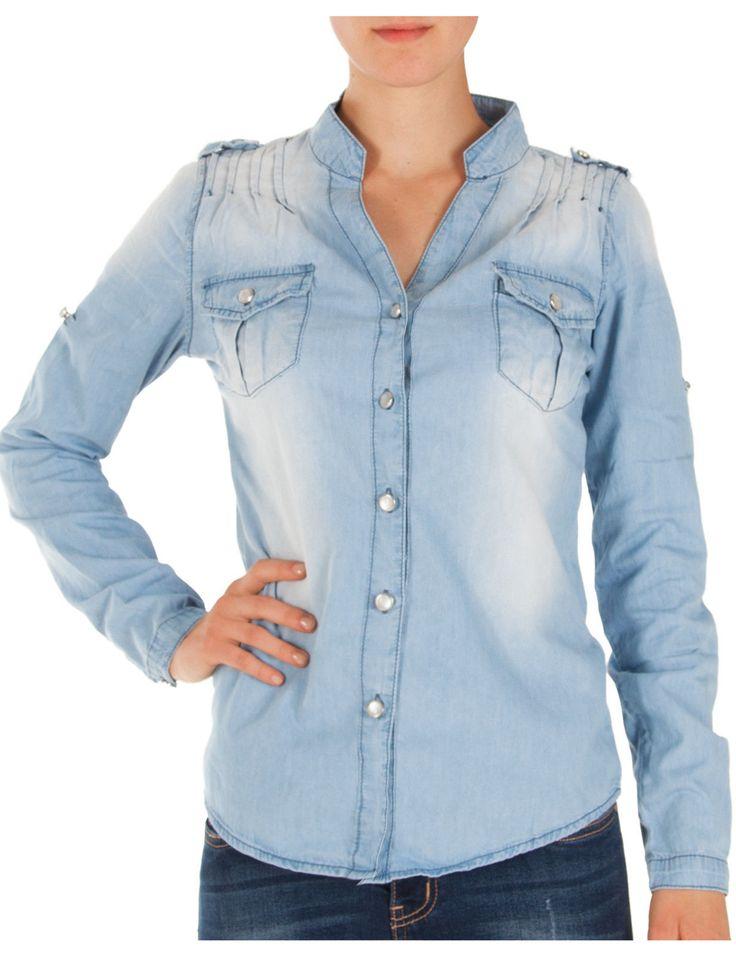 Die 25 besten ideen zu jeanshemd damen auf pinterest leder umh ngetasche damen damen jeans - Jeanshemd damen lang ...