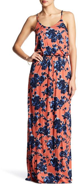 Lush Knit Maxi Dress in coral and navy floral.  Perfect outfit for spring and summer.  (affiliate)