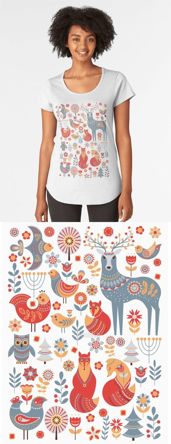 Cute animals and birds in a fairy forest. Deer, owl, foxes, birds, flowers, spruce. Scandinavian style. Folk art.
