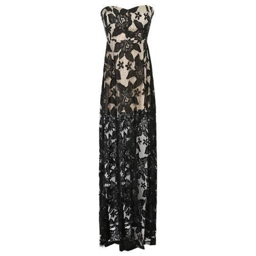 Black Strapless Sheer Lace Maxi Dress D902-CSABU3