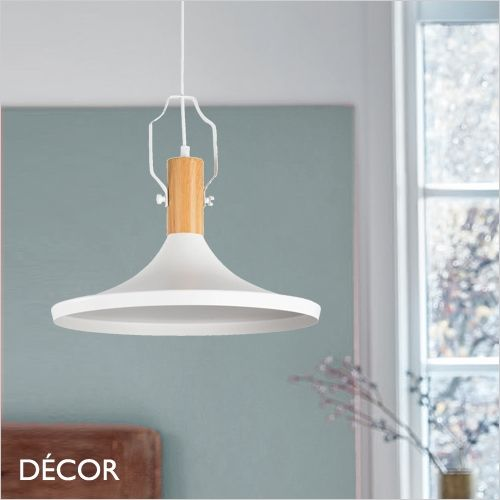 Bicones Three – White with Wooden Element Fashionable Designer Pendant Gentle – Minimalist Type in your Kitchen, Eating Room, Residing Room, Restaurant & Cafe