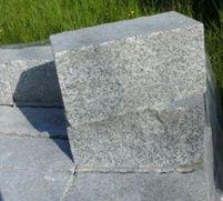 Mauerstein 4-seitig gesägt, sonst gespalten 20x20x40 cm grau