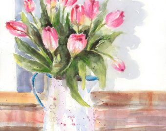 Giclée Professional art print from original watercolor Pink Tulips A gift for spring Size: 13 1/4 x 9 1/2 ***This print can be done in any size you like, beginning with 9,5 x 12 and as large as 19 x 24. For special sizes, send me a note.  This is a professional FINE ART REPRODUCTION of my original watercolor: High resolution scanning of the original art yields a near perfect facsimile of the original painting. Thanks to the top-of-the-line Epson 9900 digital printer used as well as ...