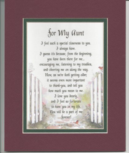 A Gift For An Aunt. Double-matted In Burgundy Over Dark