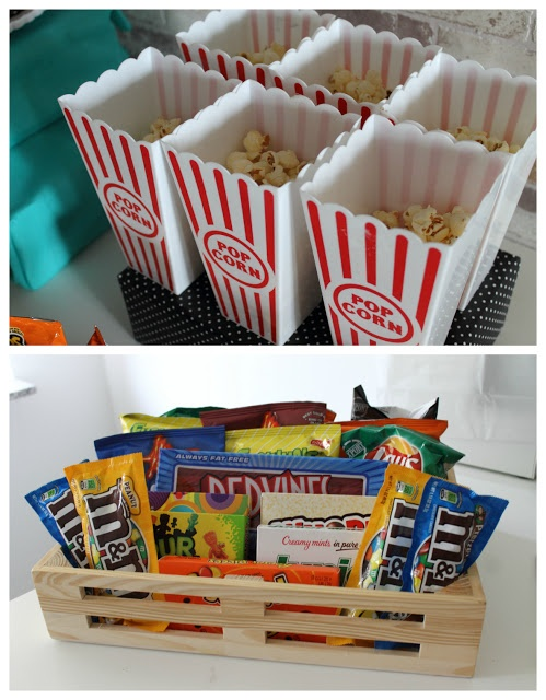 Yummy movie candy and popcorn in plastic tubs make the perfect sleep over treat.