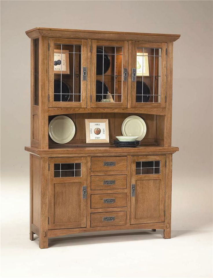 rustic mission china hutch and buffet by intercon. Black Bedroom Furniture Sets. Home Design Ideas