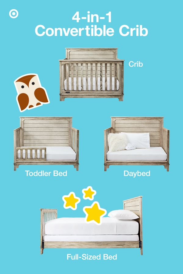 The Simmons Kids Slumbertime Monterey 4-in-1 convertible crib has lots of style and grows with your baby, transitioning from crib to a toddler bed, daybed or full-sized bed. It features a rustic, farmhouse-style with shiplap-inspired, softly distressed paneling for a warm, modern look. This nursery must-have has 3-position mattress support that can be easily adjusted as your baby grows. Complete the nursery with the matching 4-drawer dresser, bookshelf or nightstand.