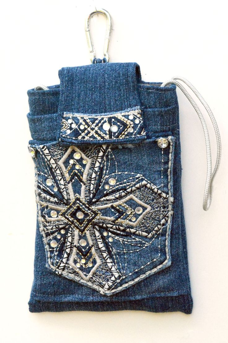 Denim crossbody clip on bag for your phone, smart phone bag, crossbody denim purse, iPhone case, upcycled denim crossbody bag by mimisfunstuff on Etsy