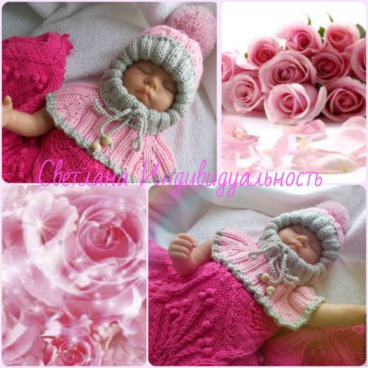 Купить Шапочка-шлем Розовые розы - розовый, абстрактный, шапка, шапка вязаная, шапка зимняя