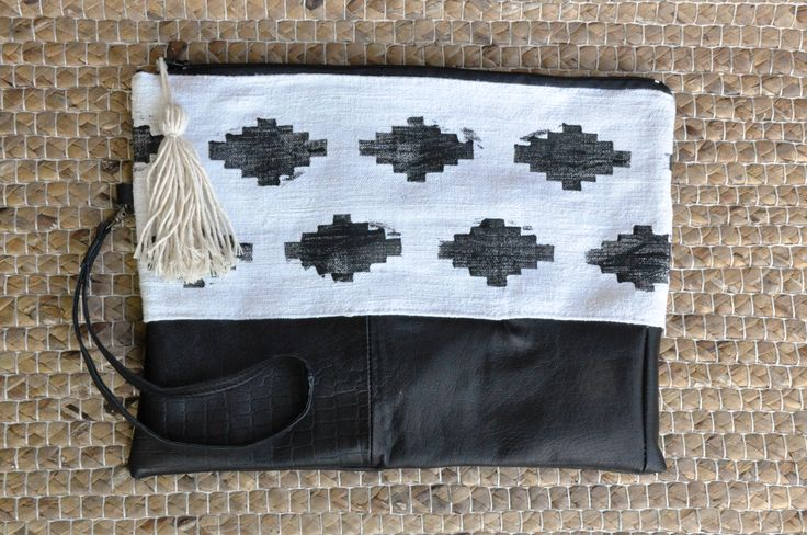 Real old rustic canvas with hand printed aztek pattern and black leather <3