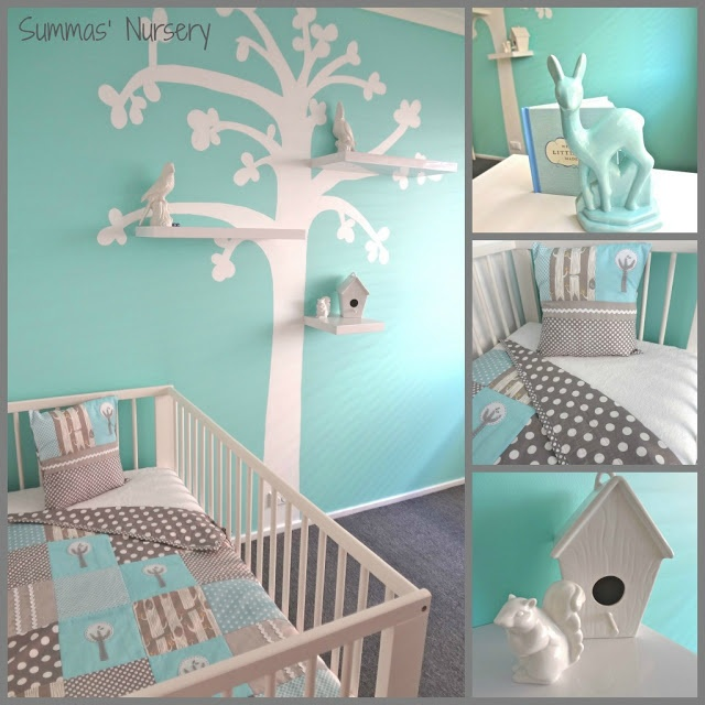 Mummy's Little Dreams: Bird Theme Nursery Would love to have this blue and white bird themed nursery for my baby boy or girl (: