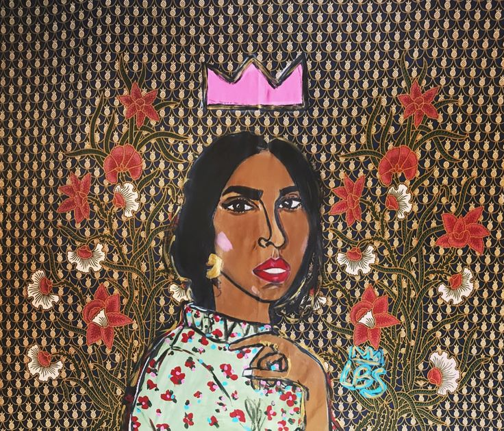 "Rupi Kaur. 38"" x 42""  Acrylic on Fabric Custom tapestry #artbylbs"