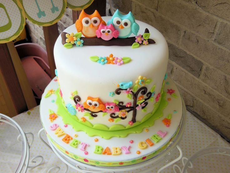 Owl Family Baby Shower Cake