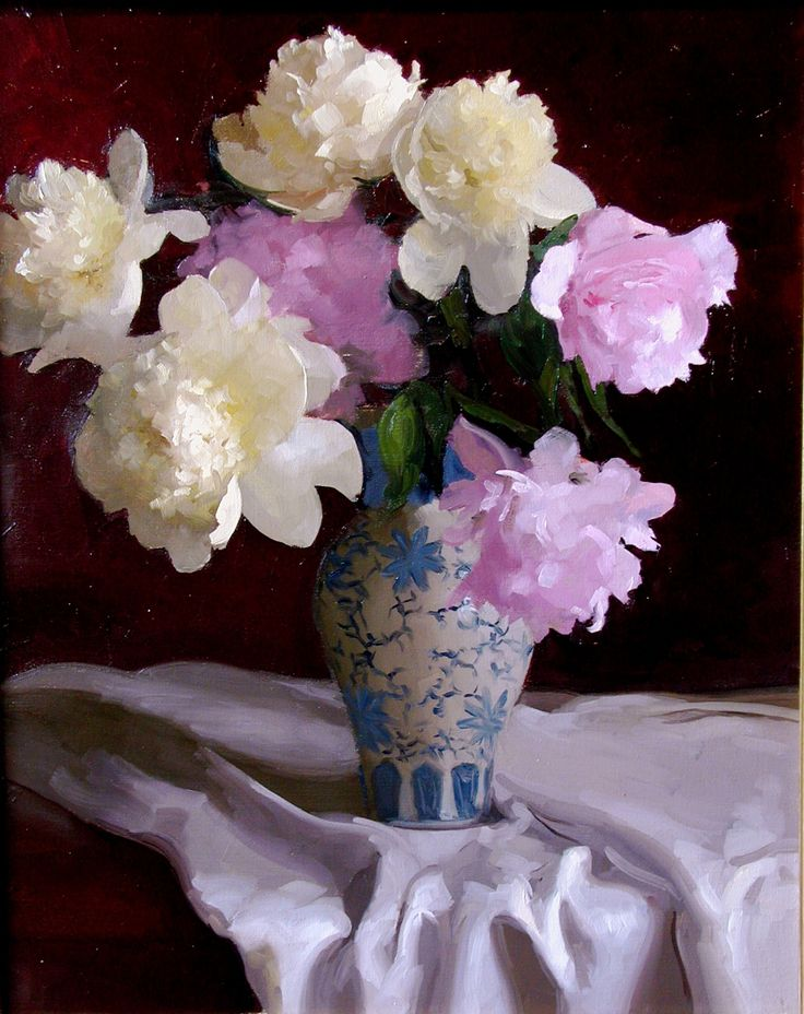 "Dennis Perrin ""Peonies with Blue & White Vase"""