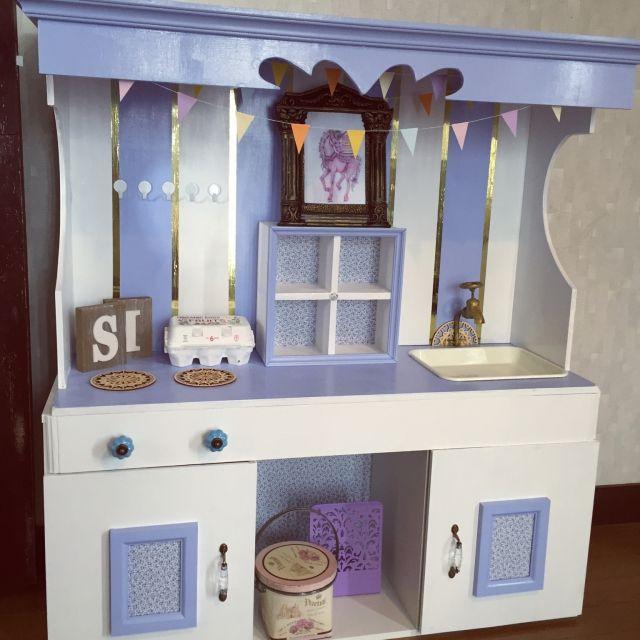mitsuさんの、ハンドメイド,セリア,100均,DIY,初投稿☺︎,ままごとキッチンDIY,姫家具,部屋全体,のお部屋写真
