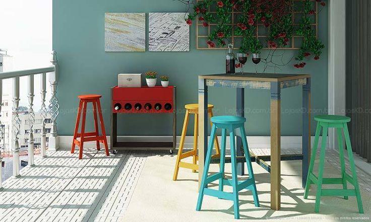Conjunto para Sala de Jantar com Mesa Bistrô e 4 Banquetas Demolição/Warm Chestnut/Verde/Vermelho/Azul/Amarel - Caaza