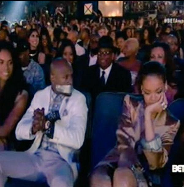 Rihanna Covers Floyd Mayweather's Mouth With Duct Tape At BET Awards
