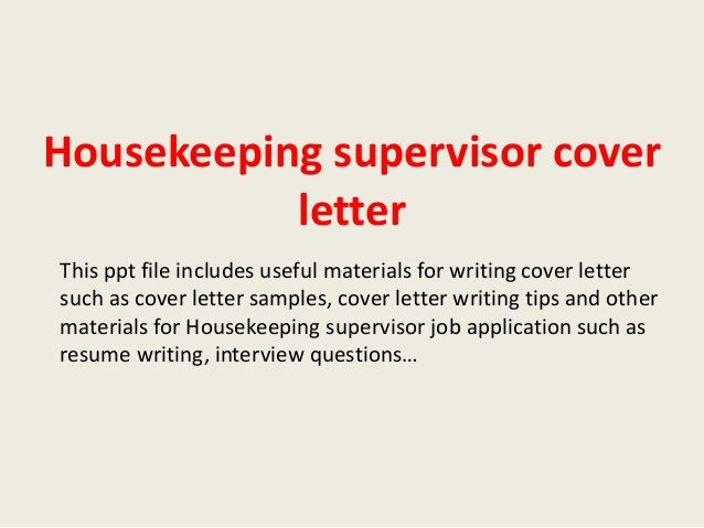 Housekeeping Cover Letter. Effective Resume And Cover Letter