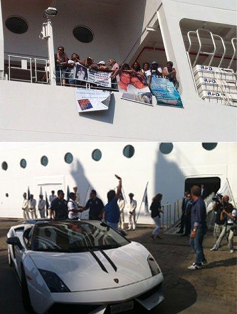 Fãs do cantor Roberto Carlos acenam de dentro do navio e são correspondidos pelo artista (Foto: Flávia Mantovani/G1)