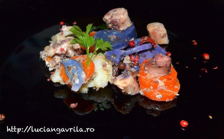 Salată multicoloră cu sardele și tentacule de sepie