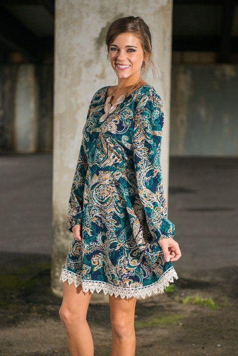 """Crazy In Paisley Dress, Emerald-Navy"""