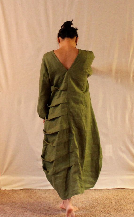 custom fit listing.  bottle shaped spiral pleats dress with puffy kimono sleeves. $183.00, via Etsy.
