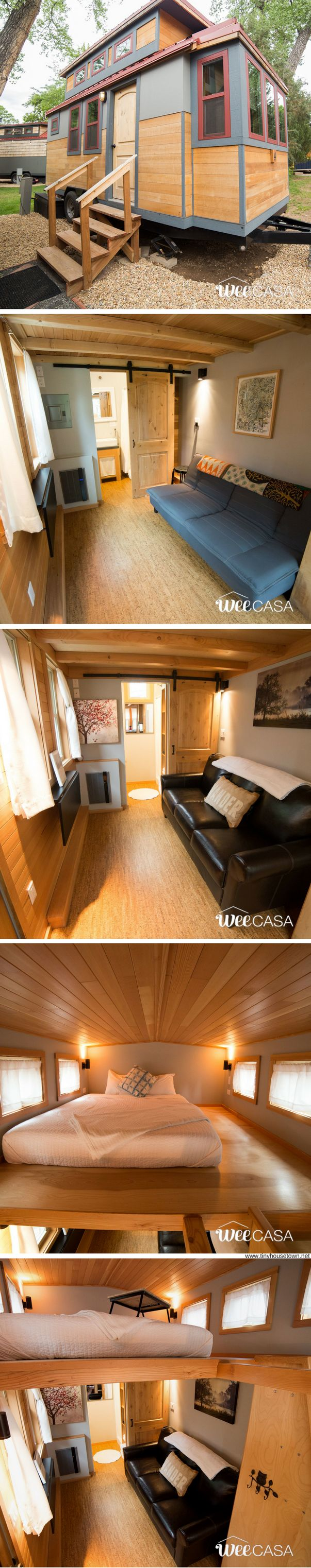 The Golden Aspen: a 170-sq-ft tiny house available for rent at the WeeCasa Tiny House Resort!