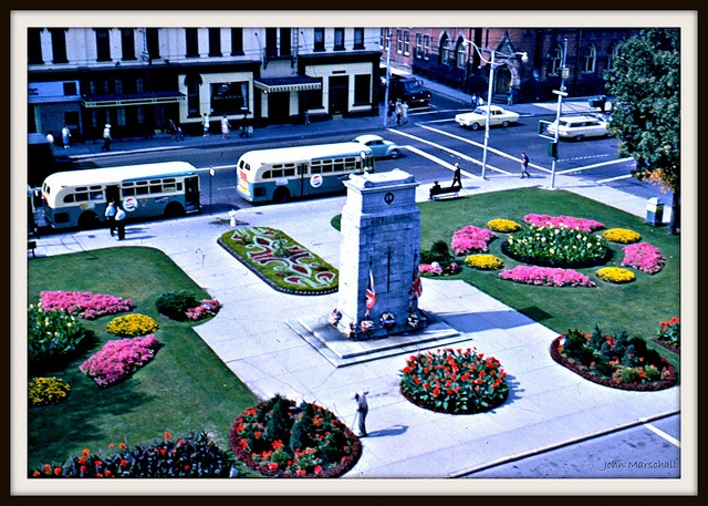Kitchener, Ontario, Canada - public square in front of old city hall during the 1950's and 60's.