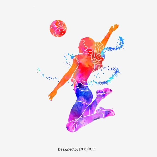 Silhouettes Of Creative Volleyball Players Multicolored Sports Bodybuilding Png Transparent Clipart Image And Psd File For Free Download Volleyball Wallpaper Volleyball Clipart Volleyball Images