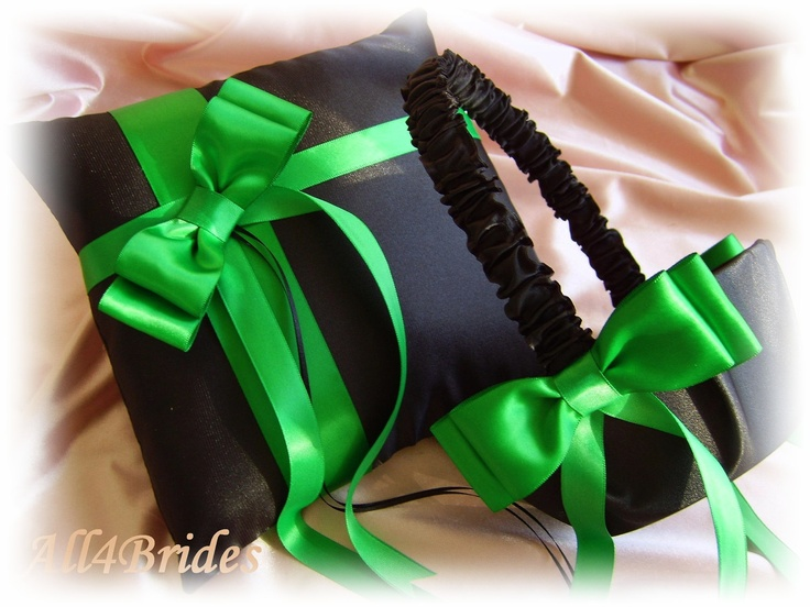 Black and Green Weddings Flower Girl Basket and Ring Pillow Set, Emerald Green, Kelly Green Wedding Ceremony Decor. $65.00, via Etsy.