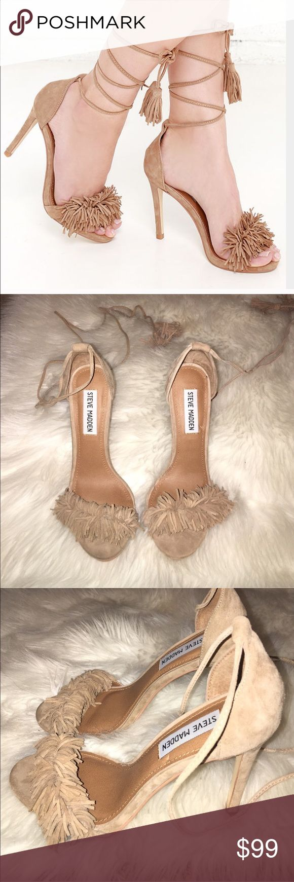 Steve Madden sassey heels 🎉1 hr flash sale 🎉 So so cute fringe lace up heels in love with these but sadly I have too many shoes . only worn once for a party size 6 . in color blush.  so trendy 😍 and sold out in every store. Steve Madden Shoes Heels