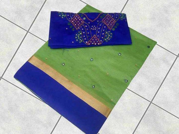 Kota Mirror Sarees With Maggam Work blouse | Buy online Kota Sarees