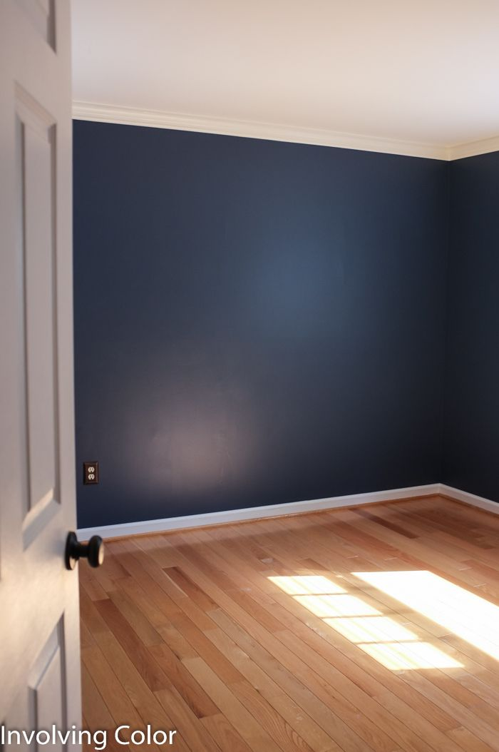 Red wall paint colors - Benjamin Moore Van Deusen Blue Painted The Laundry Room